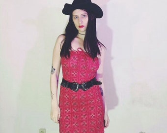 90s red bandanna tube dress size m