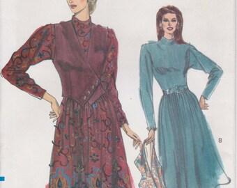 Dress Pattern Long Sleeve Belted Shoulder Pad Dimdi Skirt Misses Size 12 - 16 Uncut 1989 Vogue 7642
