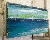 Original Painting Seascape Art Block Ocean Sailboat Beach House Decor by CastawaysHall