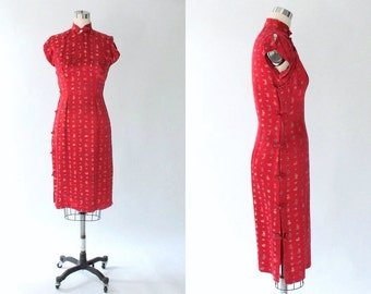 1940s Jacquard Satin Chinese Dress // 40s Vintage Red Cheongsam Sheath Dress // Small - Medium