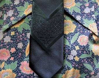 Vintage Skinny 60s Neckties Mens Beatlemania thin Green MOD Brocade 1960s Ties