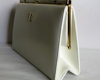 Vintage 60s Kelly Style Handbag 1960s Cream Leather Gold Accents Hard Case Handbag Made in Canada