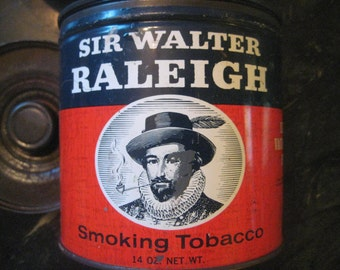 "Vintage 1960 Tobacco Tin;  Sir Walter Raleigh Smoking Tobacco, by R. J. Reynolds, 4 7/8"" Tall, 1 Tin"