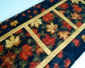 Elegant Quilted Table Runner, Autumn Table Topper, Fall Leaves, Black and Gold, Gold Metallic