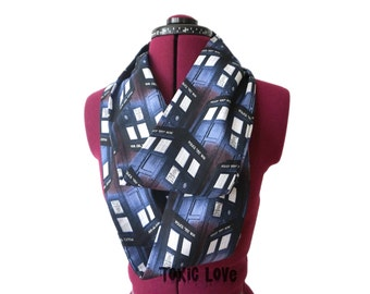LAST ONE! Dr. Who Tardis Infinity Scarf (2 sizes - child or adult) circle scarf, doctor who gift, police box, the doctor, tardis scarf