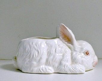 Lefton Bunny Planter Figurine Rabbit White with Pink Vintage Plant Pot