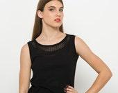 20% OFF Black top, summer women knit, crop top, women's knitwear