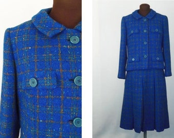 Vintage 60's Suit 2 Piece Jacket Pleated Skirt in Blue Wool Boucle Plaid Size Small