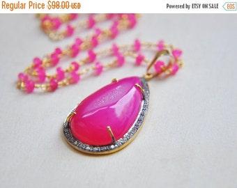 SALE Druzy Necklace, Pink Druzy Necklace, Druzy Jewelry, Hot Pink Necklace, Neon Pink Necklace, Summer Necklace, Statement Necklace, bold, b