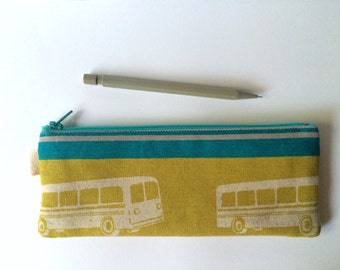 Sale! Fabric Pencil Case, Pencil Pouch, Zippered Purse, Clutch. Echino Buses in Lime.