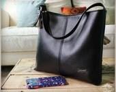 Lauren bag - Black recycled leather bag - Black leather - black hobo bag - Custom listing - tote bag - slouch bag