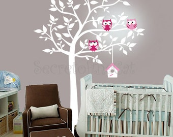 Wall Decals Nursery - Nursery wall decal - Tree Wall Decal - Tree and owls - Windy Tree Decal -  Baby Tree Decal - Monogram - Tree