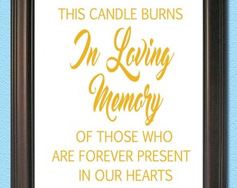 Wedding Sign- 8x10 PRINT - In Loving Memory