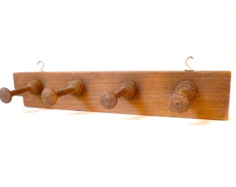 Vintage Wood Wall Coat Rack ... Rustic Wall Pegs, Wall Hooks, Farmhouse Modern Decor, French Country, Shabby Chic, Four Piece Wall Mounted