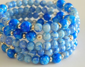 Boho Bracelet Wrap Bracelets Boho Style Blue Glass and Silver Beads