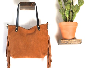 ZIP TOP TOTE- Small with Fringe // Soft & Slouchy Zip Top Tote //Suede Leather // Detachable Crossbody strap // Fully Lined // ready to ship