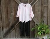 linen asymmetrical top blouse in pink ready to ship