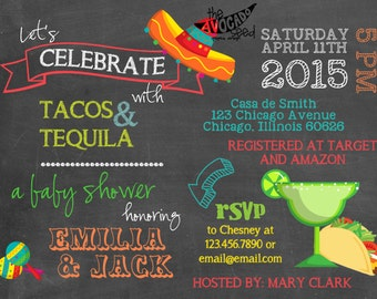 Tacos and Tequila Fiesta Mexican Spanish Baby Shower Invitation - DIY or Professionally Printed Cards