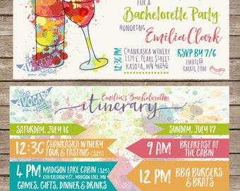 Uncork and Unwine - Bachelorette Invitation (or any event) - DIY Printing or Professional Mailed Prints