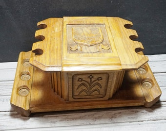Vintage Handmade Pipe Stand and Humidor