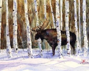 MOOSE in WINTER Watercolor Print, Moose Painting, Moose Art,  by Dean Crouser