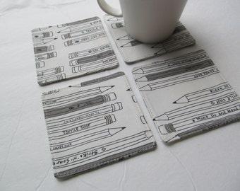 Set Of 4 Fabric Coasters/Pencil