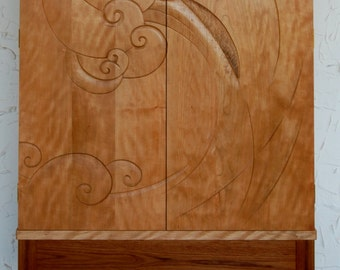Carved Cabinet in Curly Cherry and Teak