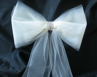 Set of 6 Pew Bows in Tulle with Rhinestones, Pew Decorations, Aisle Bows, Rhinestone Band Tulle Bows, Wedding Decorations