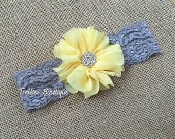 Gray Yellow Lace Headband, Gray Yellow Elastic Headband, Flower Girl, Wedding