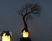 Harvest Moon Selenite Sphere, wire Tree Wind Spirits sculpture, handmade unique tree lamp, LED wood base, original art, gift idea home decor
