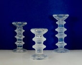 Set of Three Iittala Festivo Candle Holders--One 4 Ring; One 3 Ring; One Two Ring