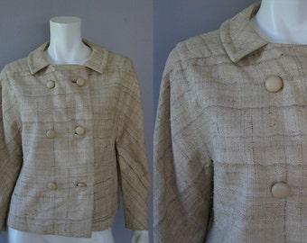 Vintage 60s Tweed Jacket -Tan Cropped Jacket - 1960s Freiss Fall Short Coat