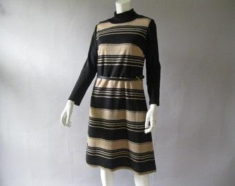 1960s Knit Striped Dress - 60s Turtleneck Sheath with  Belt M