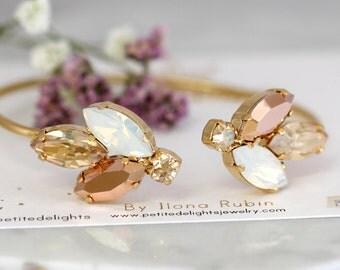 Rose Gold Bracelet, Bridal Bracelet, Bridal Champagne Bracelet, Swarovski Cuff Bracelet, Bridesmaids Bracelets, Gift For Her, Gold Bracelet
