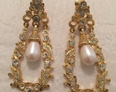 Vintage Gold and Pearl Clip On 80's Earrings