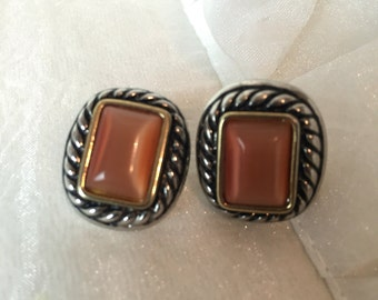Vintage Silver & Orange 80's Stud Earrings