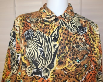 Vintage Safari Animal Print 80's Blouse  L/XL
