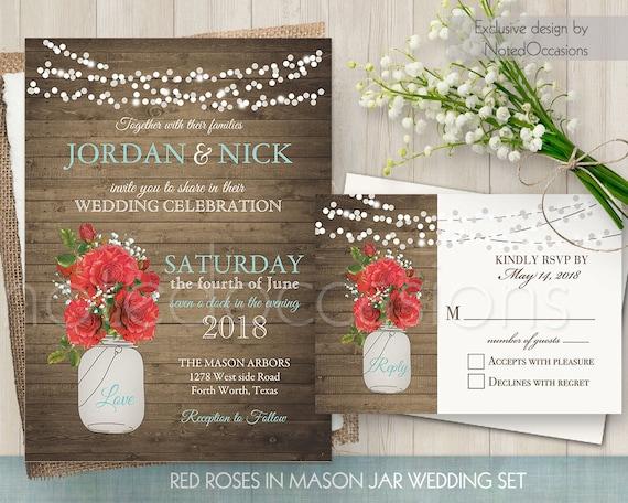 Rustic Romantic Wedding Invitations: Rustic Wedding Invitation Printable Romantic By NotedOccasions