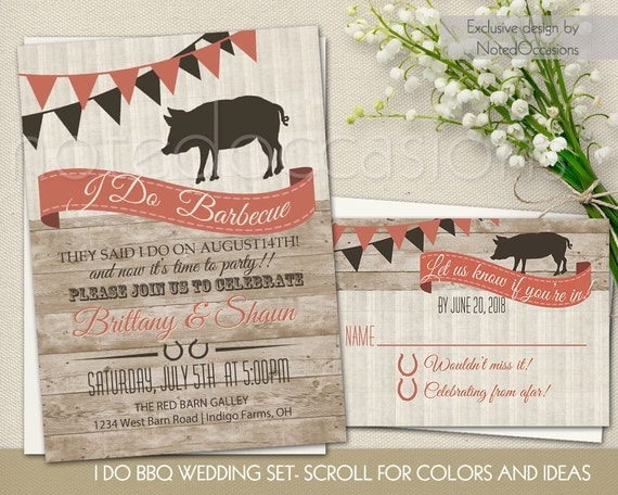 I Do BBQ Wedding Reception Invitation Set Wedding Reception Only Invitations  Country DO Barbecue Navy Blue Blush Wedding Printable Template