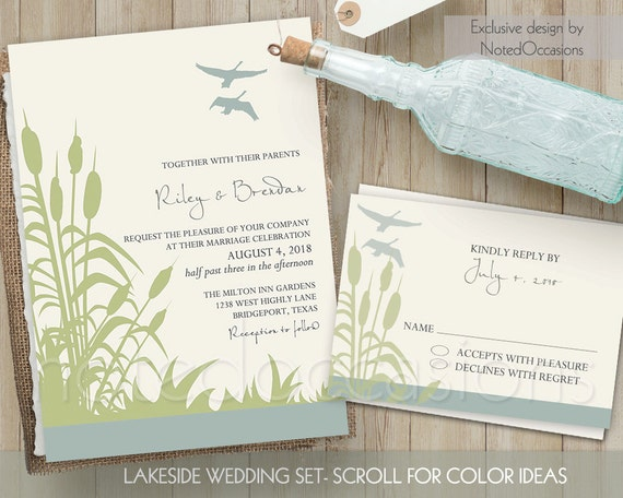 Backyard Wedding Invitation: Outdoor Wedding Invitation Set Printable By NotedOccasions