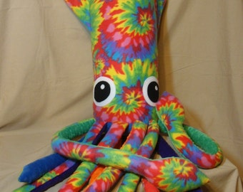 Tall Paul the Giant Rainbow Tie Dyed Fleece Plush Squid - Stuffed Marine Animal Large