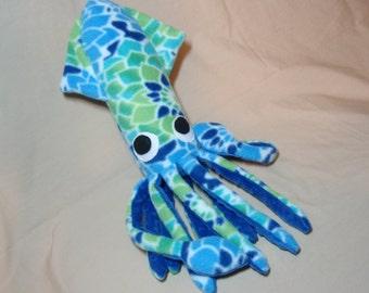 Dahlia the Blue and Green Floral Fleece Squid Stuffed Plush Animal Ocean Sea Creature