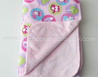 Baby blanket - pink woodland animals, soft snuggly girls pink minky cute
