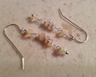 Opal Earrings - Ethiopian Opal Jewelry  - Sterling Silver Jewellery - Iridescent Gemstone - Luxe - Chic