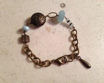 Aquamarine Bracelet - Brass Jewelry - Gemstone Jewellery - Beaded - Boho - Chic - Chain