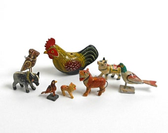 Vintage Folk Art Animal 8 Pieces  Wooden Hand Carved and Painted Var Sizes Ornaments for Crafts or Holiday Decor