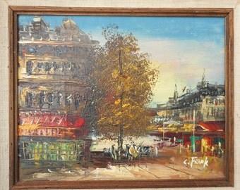 Vintage Painting Paris Cafe Street Scene signed C. Frank unframed