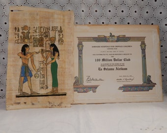 Vintage Egyptian Hand Painted Egyptian Painting Hathor on Papyrus Paper