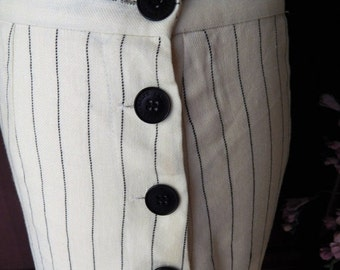 DISCOUNTED Nautical Vintage ~RALPH LAUREN~Pin Striped~Size 6~Wool~Linen~Lined Side Big Button Skirt