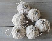 Ruffled Dropcloth Rag Ball Ornaments - Set of Six